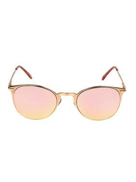 Foster Grant Women's Rose Gold Mirrored Round Sunglasses L05