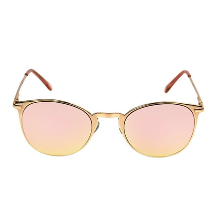 Foster Grant Women's Rose Gold Mirrored Round Sunglasses L05