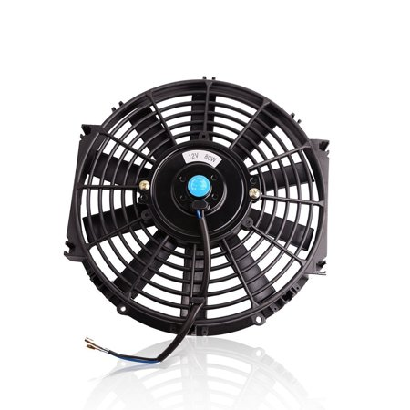 "10"" 12V Black Universal Slim fan Push Pull Radiator Engine Cooling Fan Mount Kit"