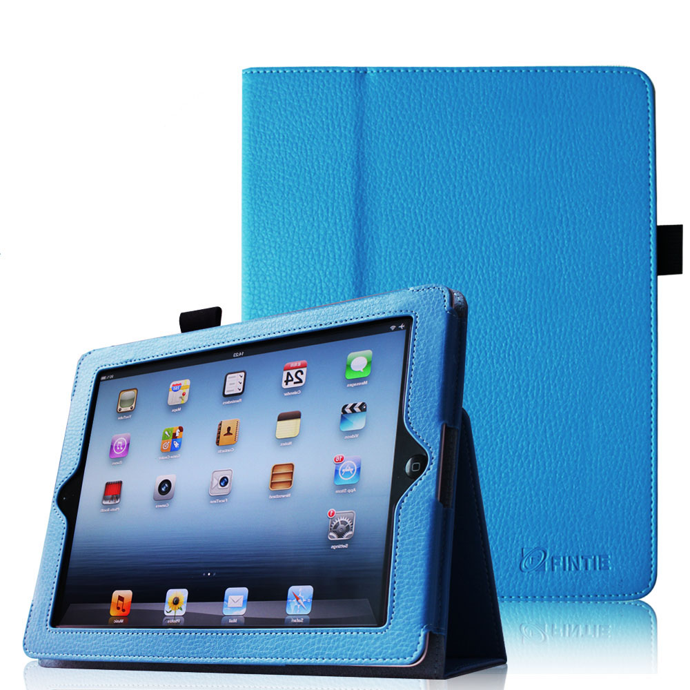Fintie Premium PU Leather Folio Case Cover with Auto Wake/ Sleep Feature For iPad 2/3/4 Generation, Blue