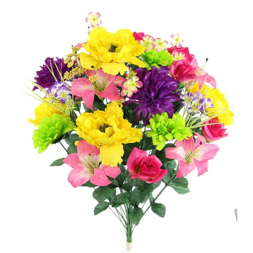 Winston Porter 36 Stems Faux Full Blooming Lily, Peony, Zinnia and Mum Flower Mixed Floral Arrangement