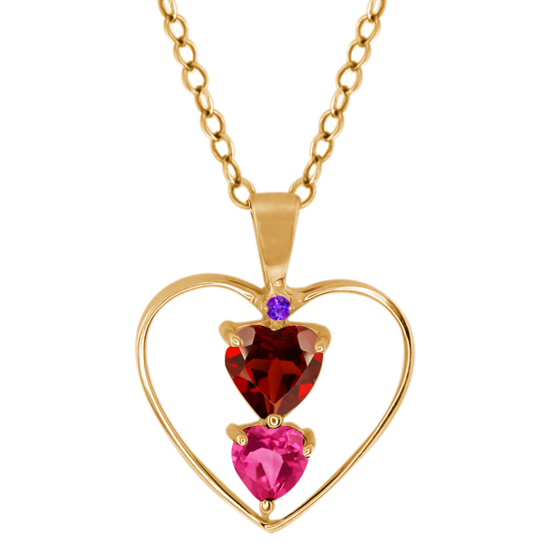 0.94 Ct Heart Shape Red Garnet Pink Mystic Topaz 14K Yellow Gold Pendant