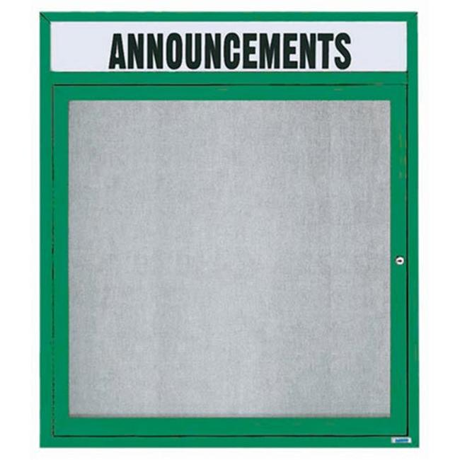 Aarco Products ODCC3630RHB 1-Door Enclosed Outdoor Bulletin Board with Header - Blue