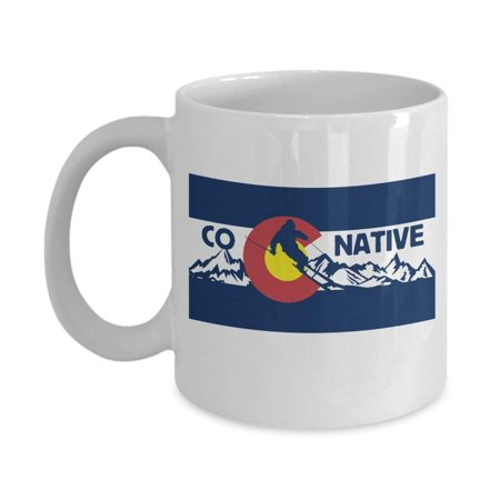 CO Native Symbol Featuring A Colorado Ski Art Coffee & Tea Gift Mug Cup For An American Skier From Aspen, Vail, Breckenridge, Telluride, Steamboat Springs, Crested Butte, Winter Park & Keystone (Party America Colorado Springs)