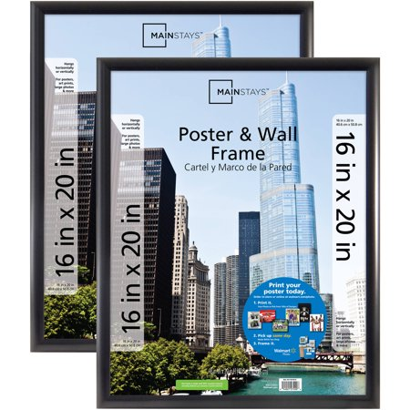 "Mainstays 16"" x 20"" Trendsetter Poster and Picture Frame, Matte Black, Set of 2"