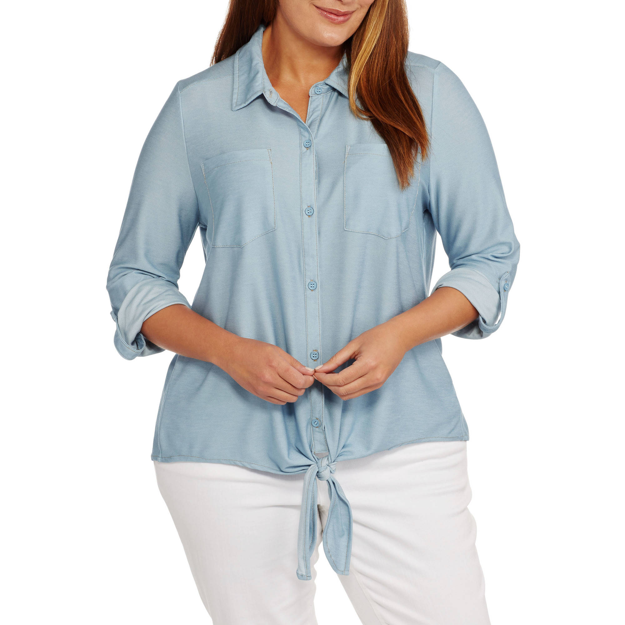 French Laundry Women's Plus Tie Front Button Down Denim Jersey Shirt
