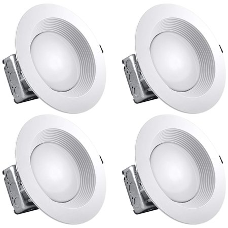 Luxrite 8 Inch LED Recessed Lighting Kit with Junction Box, 25W, 3000K Soft White, Dimmable LED Downlight, 2000 Lumens, 120V-277V, Airtight & IC Rated, Wet Location, ETL and Energy Star (4 Pack) ()