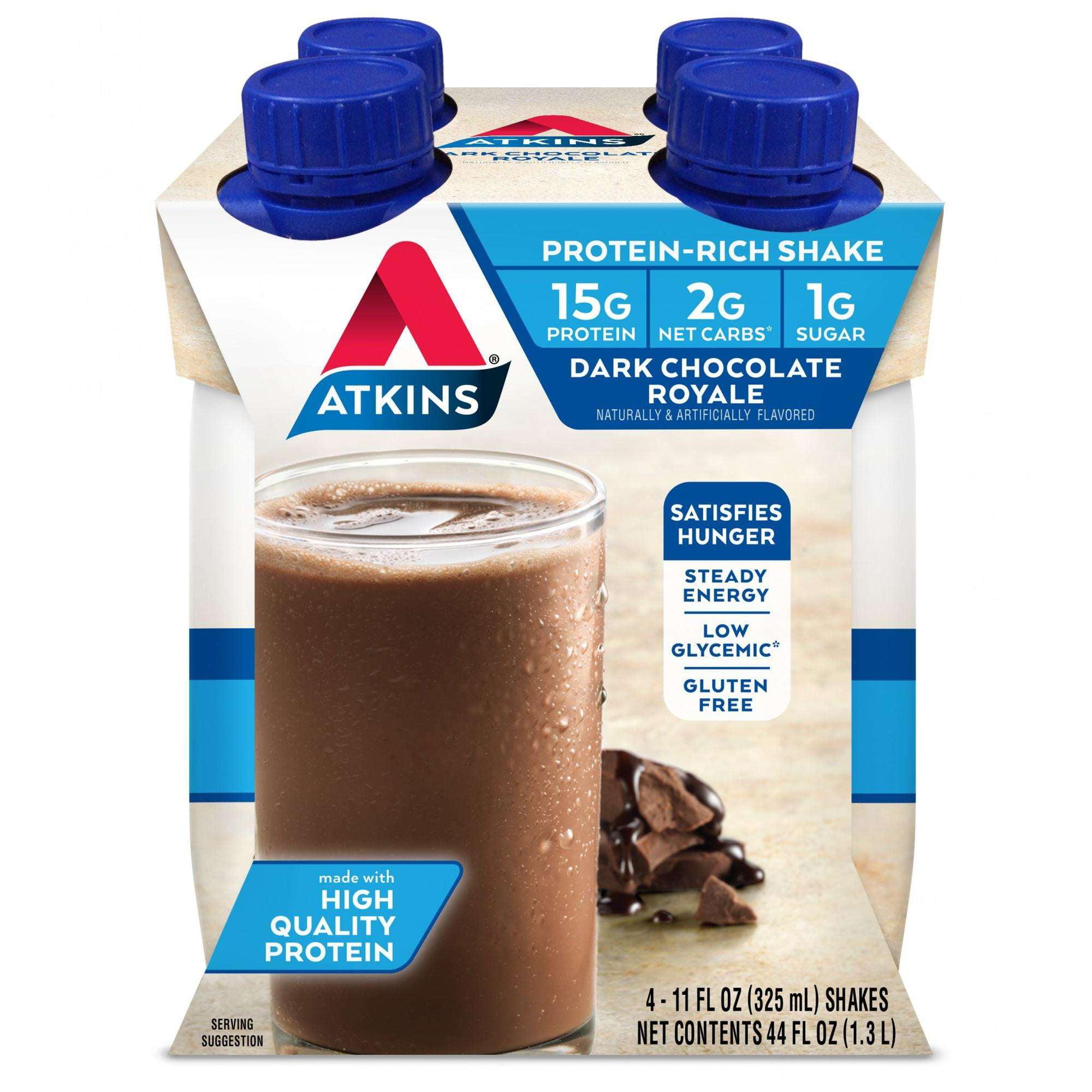 Atkins Dark Chocolate Royale Shake, 11 fl oz, 4-pack (Ready to Drink)