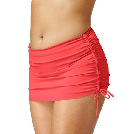 Island Escape Plus Size Side Tie Skirted Bikini Bottom 16W Coral Womens Swimsuit