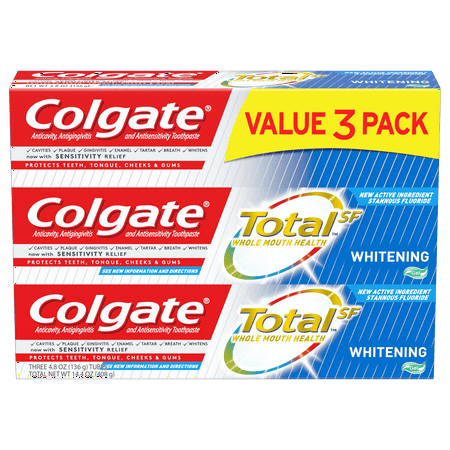 Colgate Total Whitening Toothpaste Gel, 4.8 oz. 3-pack Antiplaque Plus Whitening Gel Toothpaste