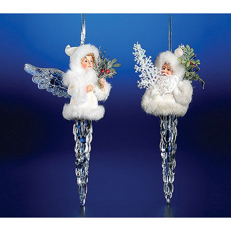 Pack of 8 Icy Crystal Decorative Christmas Icicle Angel Ornaments 7