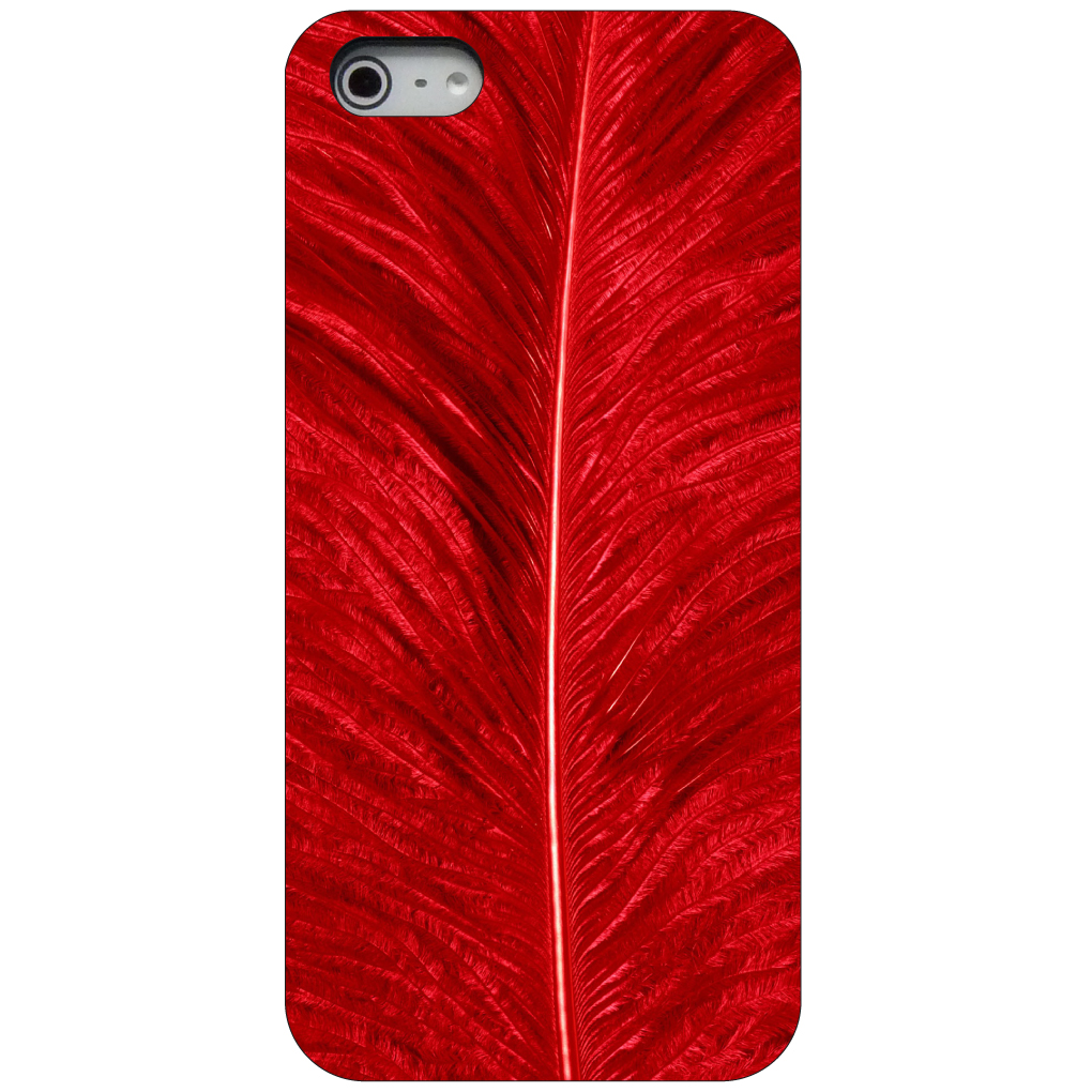 CUSTOM Black Hard Plastic Snap-On Case for Apple iPhone 5 / 5S / SE - Red Feather Texture