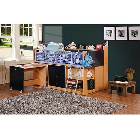Savannah Storage Twin Wood Loft Bed With Desk Navy And