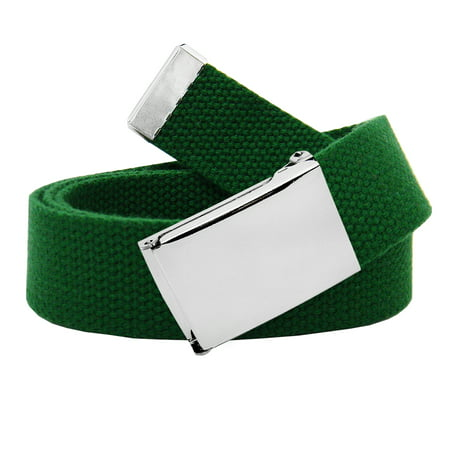 Image of Men's Classic Silver Flip Top Military Buckle with Canvas Web Belt Medium Hunter Green