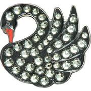 Bella Crystal Golf Ball Marker & Hat Clip - Swan - Black