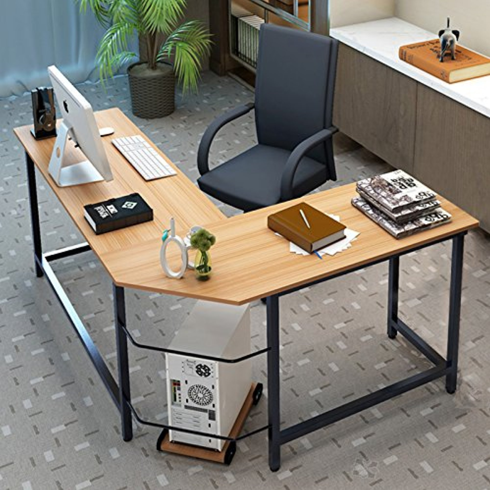tribesigns modern l shaped corner computer desk teak