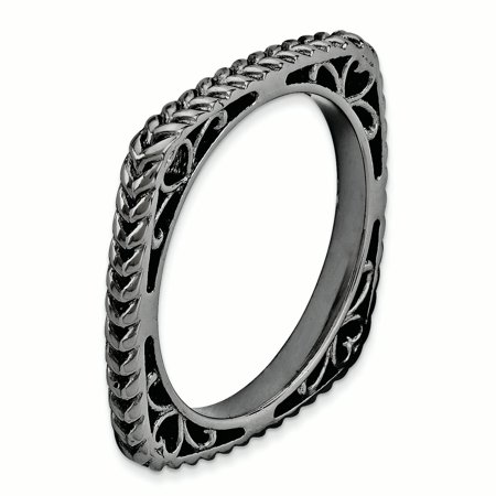 925 Sterling Silver Black Plate Square Band Ring Size 5.00 Stackable Fine Jewelry For Women Gifts For Her - image 1 de 7