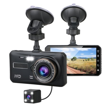 "TSV 1080P Full HD 4"" IPS LCD Touch Screen Display Dual Lens Car Camera Car DVR Dash Cam Video Recorder G-Sensor For Car Truck Bus"