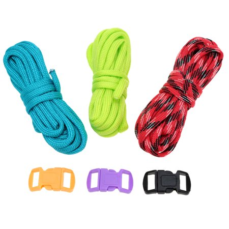 3Pcs 2.5m Paracord 7 Strand Parachute Cord Outdoor Emergency Survival Tool Hand-knitted DIY Kits ()
