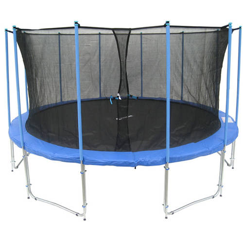 ExacMe 15' Trampoline with Safety Pad and Inner Enclosure Net and Ladder All-In-1 Combo Set