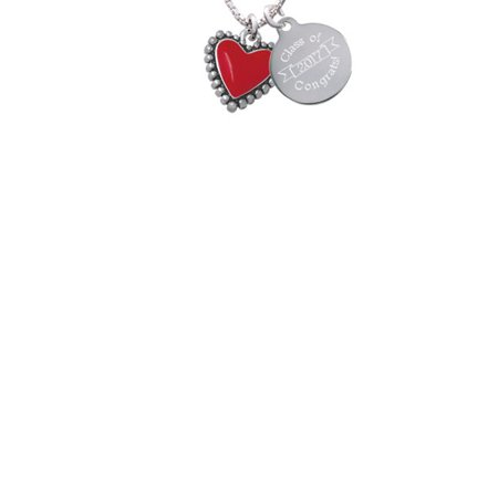 Silvertone Red Heart with Beaded Border Class Of 2017 Congrats Engraved Necklace