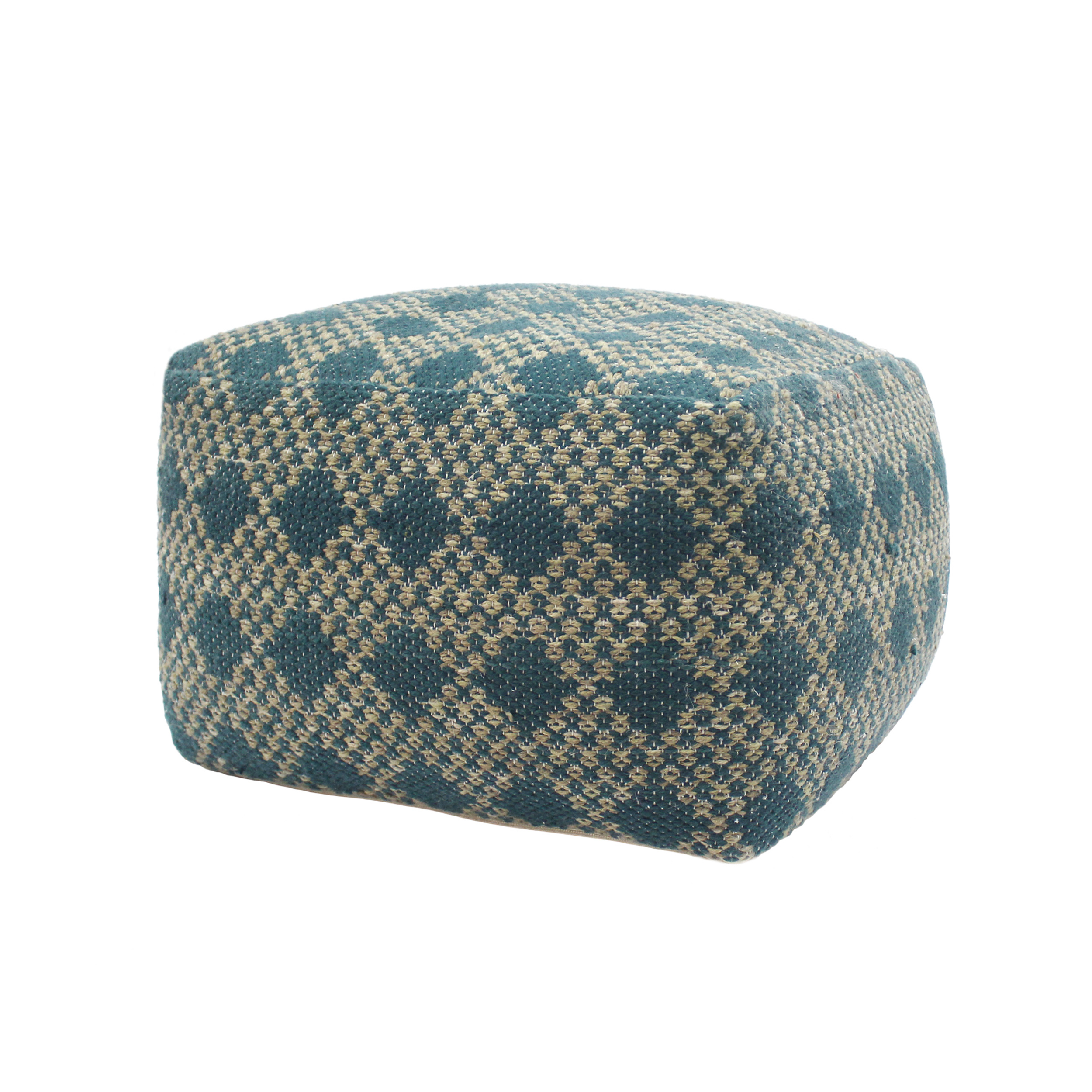 Edison Outdoor Large Fabric Rectangular Casual Pouf, Beige, Teal