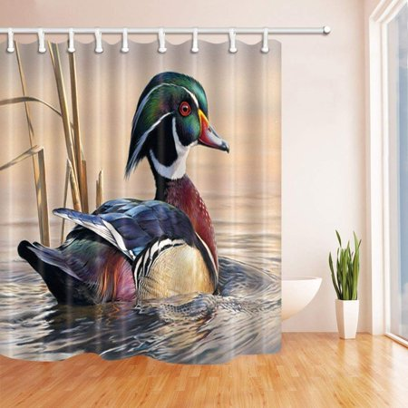 - ARTJIA Asian Wildlife Bird Decor Mandarin Ducks Sail in River at Sunset Polyester Fabric Bath Curtain, Bathroom Shower Curtain 66x72 inches
