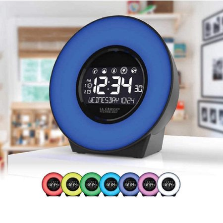 La Crosse 7 Color Mood Light Lcd Alarm Clock With Nature