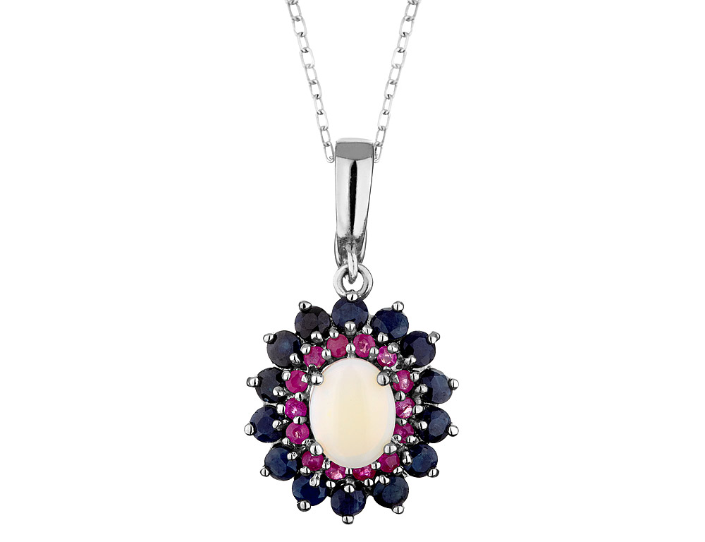 Blue Sapphire, Ruby and Opal Pendant Necklace 3.80 Carats (ctw) in Sterling Silver with Chain by Gem And Harmony