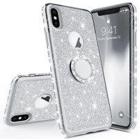 Glitter Cute Phone Case with Kickstand Compatible for Apple iPhone Xs Max Case Bling Diamond Rhinestone Bumper Ring Stand Sparkly Clear Thin Soft Girls Women Silver