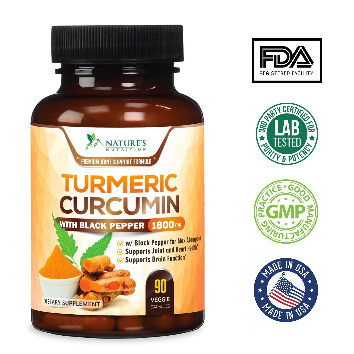 Nature's Nutrition Turmeric Curcumin with Bioperine Black Pepper Capsules,  1950mg, 120 ct