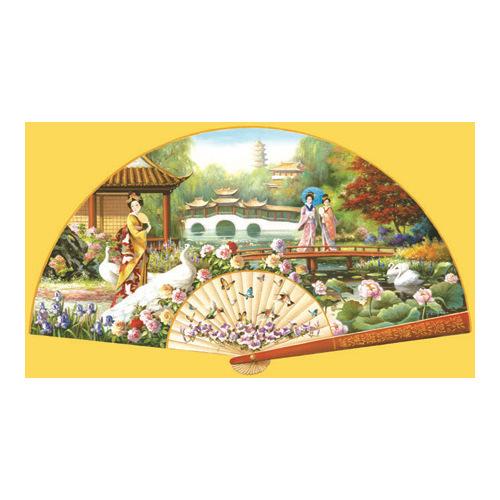 Japanese Garden Fan Shaped 1000 pc Multi-Colored