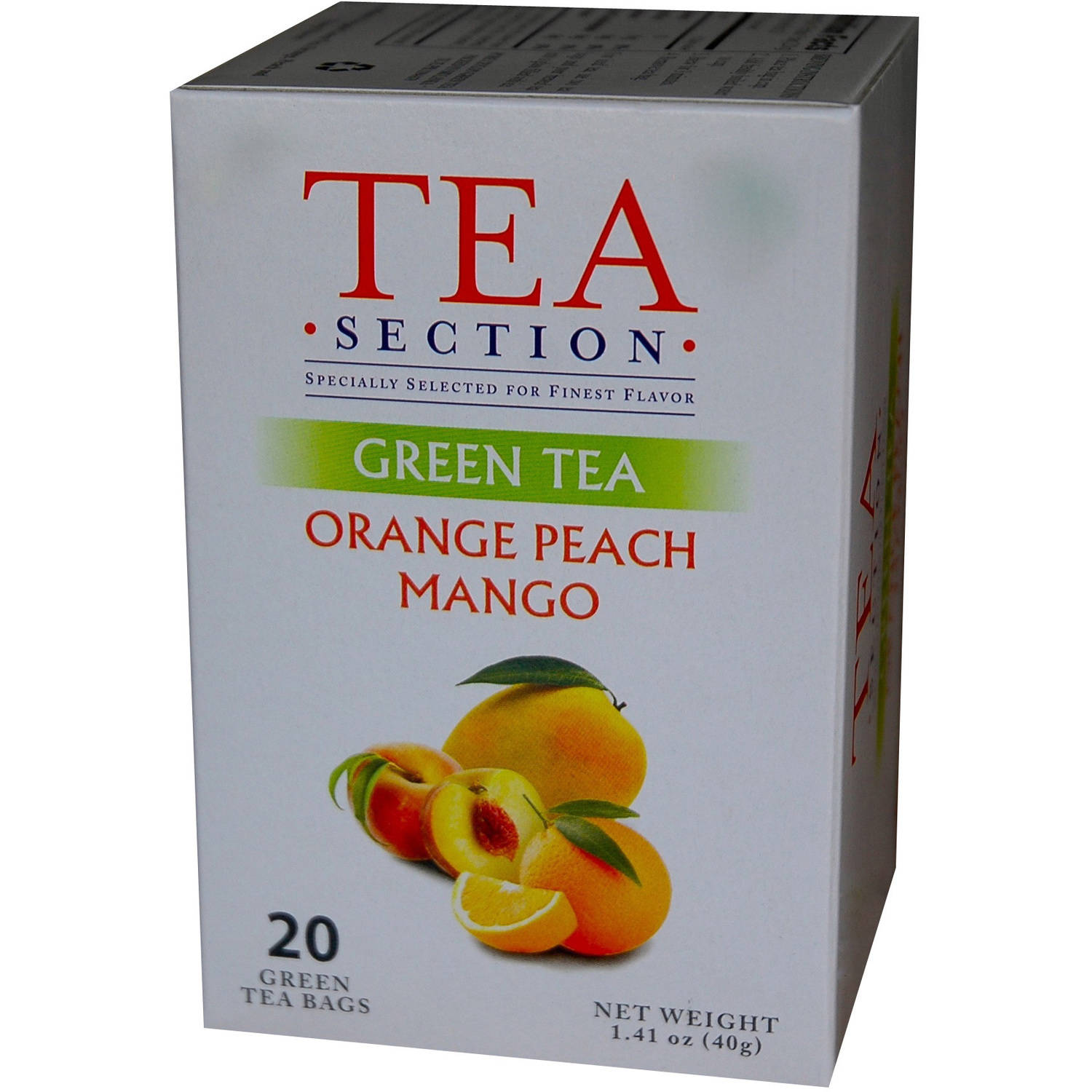 Tea Section Orange Peach Mango Green Tea Bags, 20 count
