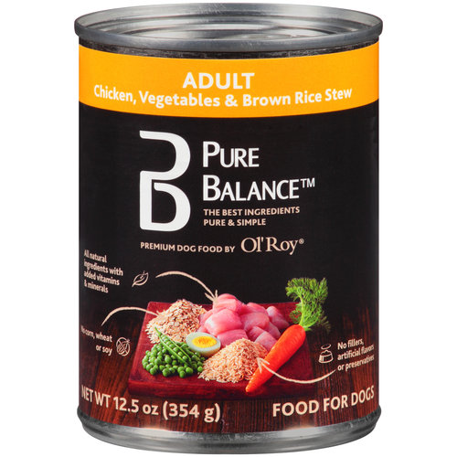 Pure Balance Chicken, Vegetables and Brown Rice Stew Adult Canned Dog Food, 12.5 oz