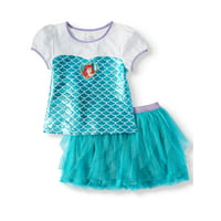 Disney Princess The Little Mermaid Foil Tee and Tulle Tutu Skirt, 2-Piece Outfit Set (Little Girls & Big Girls)