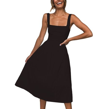 Fysho Women's Square Neck Sleeveless A-line Midi Dress Catch Of The Day Dress
