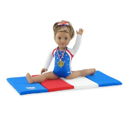 Emily Rose 18 Inch Doll Clothes | Team USA 4 Piece Doll Gymnastics Set, Including Jeweled Leotard, Tumbling Mat, Hair bow and Realistic Olympic Gold Medal! | Fits 18