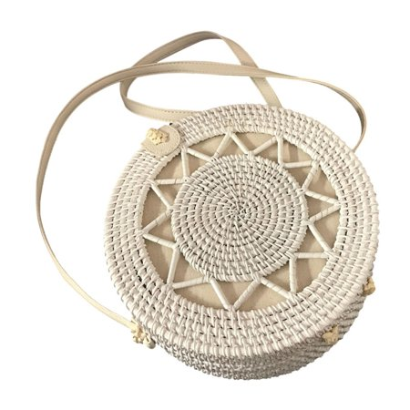 ZEDWELL Handwoven Round Rattan Bag Shoulder Leather Straps Natural Chic Handbag