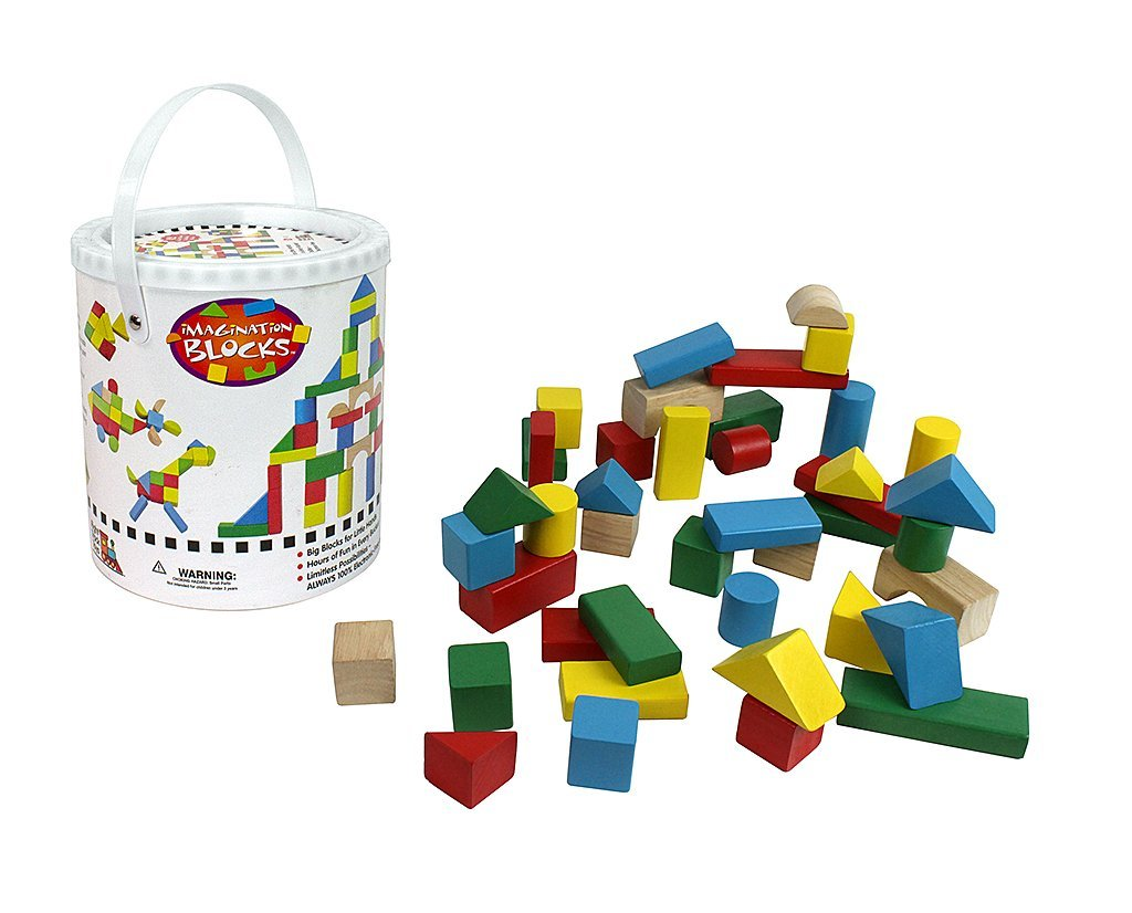 Wooden Blocks 42 Pc Wood Building Block Set with Carrying Bag and Container (Rainbow... by Right Track Toys