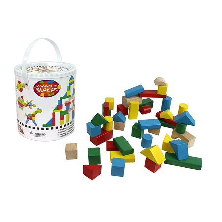 Wooden Blocks   42 Pc Wood Building Block Set With Carrying Bag And Container  Rainbow Colored    100  Real Wood