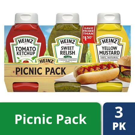 Mild Yellow Mustard - Heinz Picnic Pack: Ketchup, Sweet Relish, Yellow Mustard, 3 count, 37.5 oz