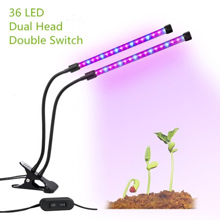- LED Plant Grow Lights, Dual Lamp 18W Greenhouse Gooseneck LED Grow Light for Indoor & Outdoor Plants,Hydroponic Garden,Greenhouses