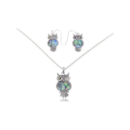 Abalone Shell Jewelry Set (Cute Silver Tone Faux Abalone Shell Body Wide Eyed Owl Earring and Necklace Set )