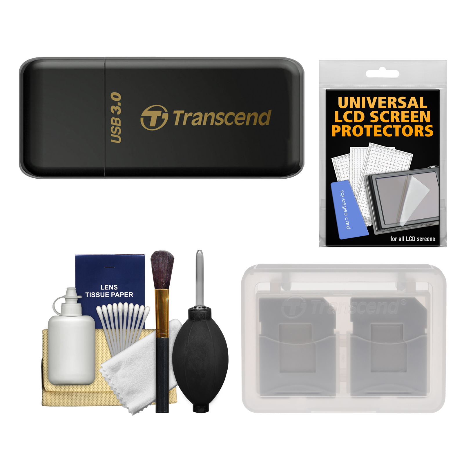 Transcend USB 3.0 SD & microSD Card Reader (SDHC/SDXC/UHS-1) (Black) with Memory Card Case + Cleaning Kit