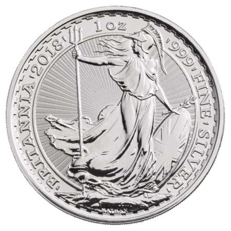 - 2018 Royal Mint Silver Britannia 1 oz Silver Coin