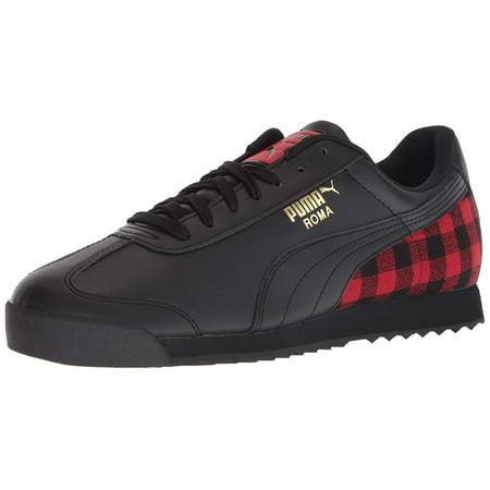Puma Men's Shoes Roma Leather Flannel Black Fashion