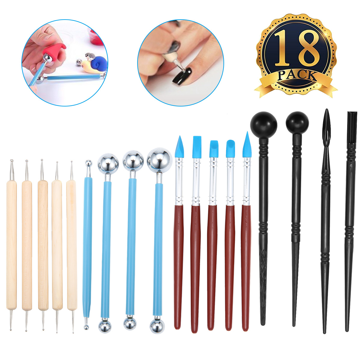 18PCS Ball Stylus Dotting Tools Clay Pottery Modeling Set Rock Painting Kit WITH 5 Clay Color Shaping Modeling Wipe Out Tools Rubber Tip Paint Brushes for Sculpture Pottery