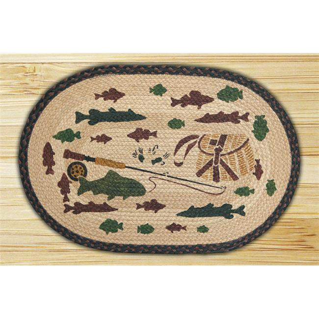 Capitol Importing 90-309A Lodge 2 Fishing - 20 inch x 30 inch Hand Print Oval