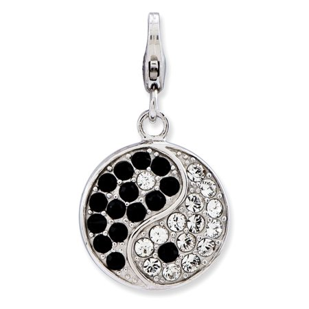 Sterling Silver Fancy Lobster Closure Enameled 3-d Ying Yang Sign With Lobster Clasp Charm