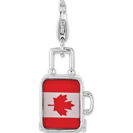 - Leslies Fine Jewelry Designer 925 Sterling Silver Enameled Canadian Flag Suitcase Lobster Clasp Pendant Gift